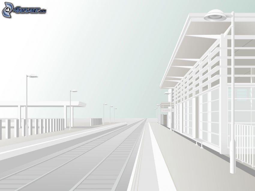 sínek, vasútállomás