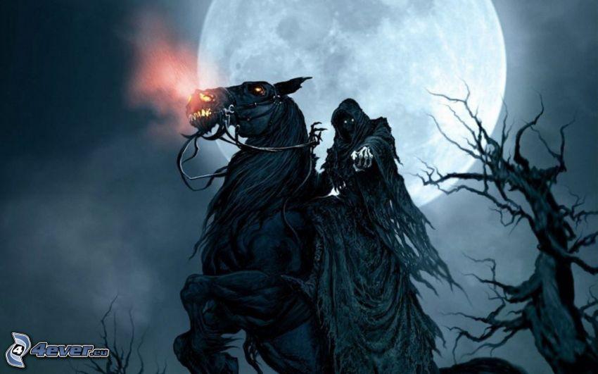 Kaszás, fekete ló, Hold, éjszaka