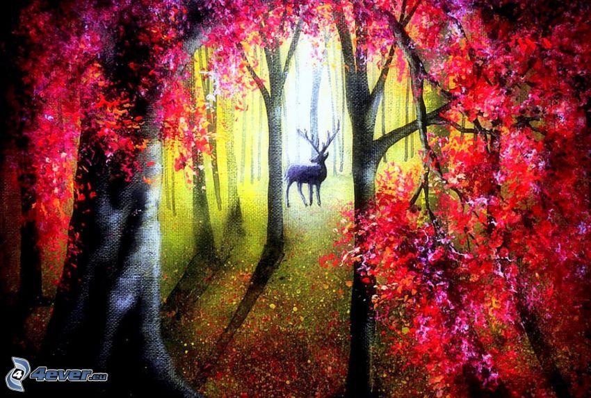 szarvas, erdő, napsugarak, piros levelek