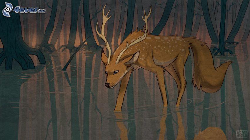 szarvas, erdő, tócsa