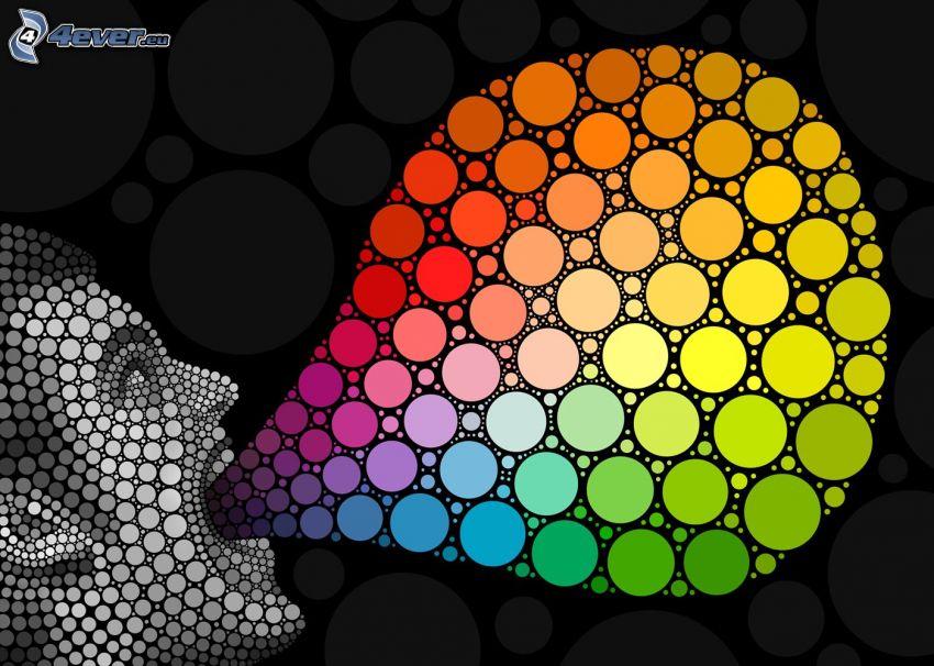 színes körök, arc