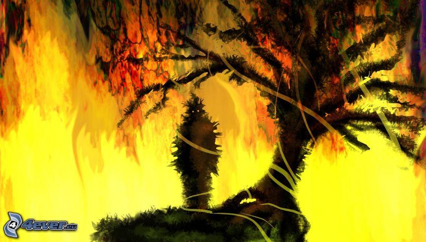 szörnyeteg, fa sziluettje
