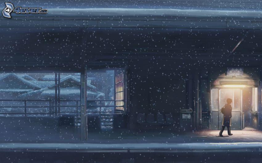 vasútállomás, hóesés, rajzfilmfigura