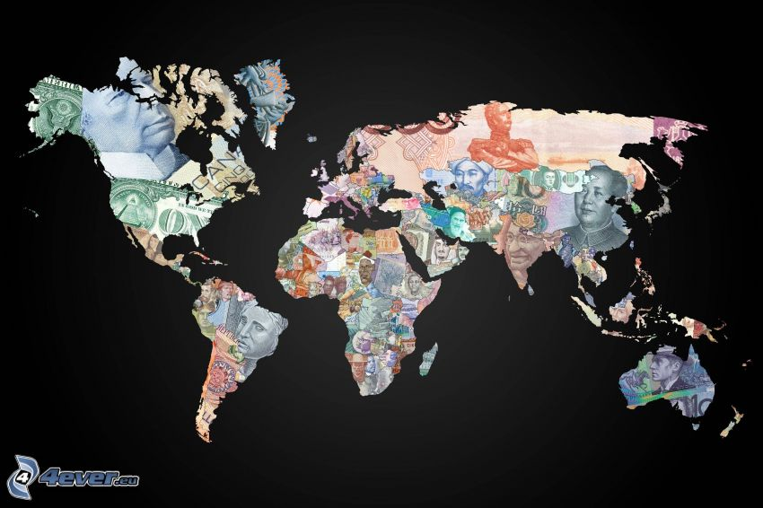 világtérkép, pénz