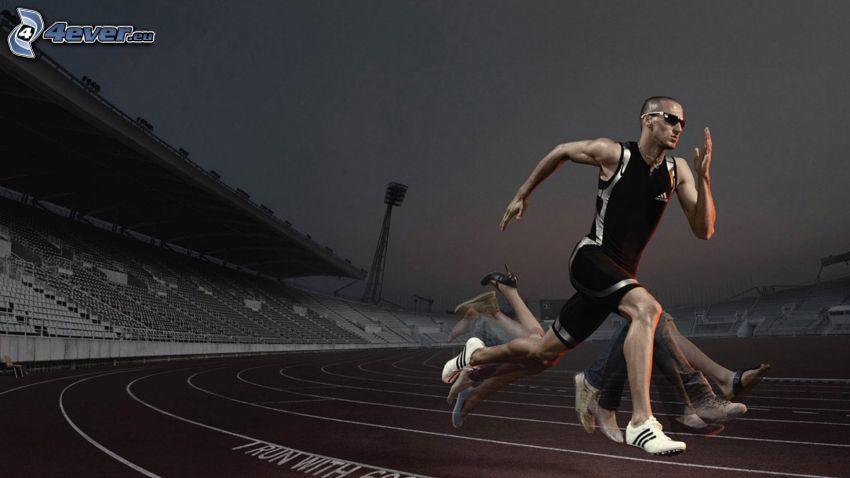 futás, lábak, stadion, éjszaka