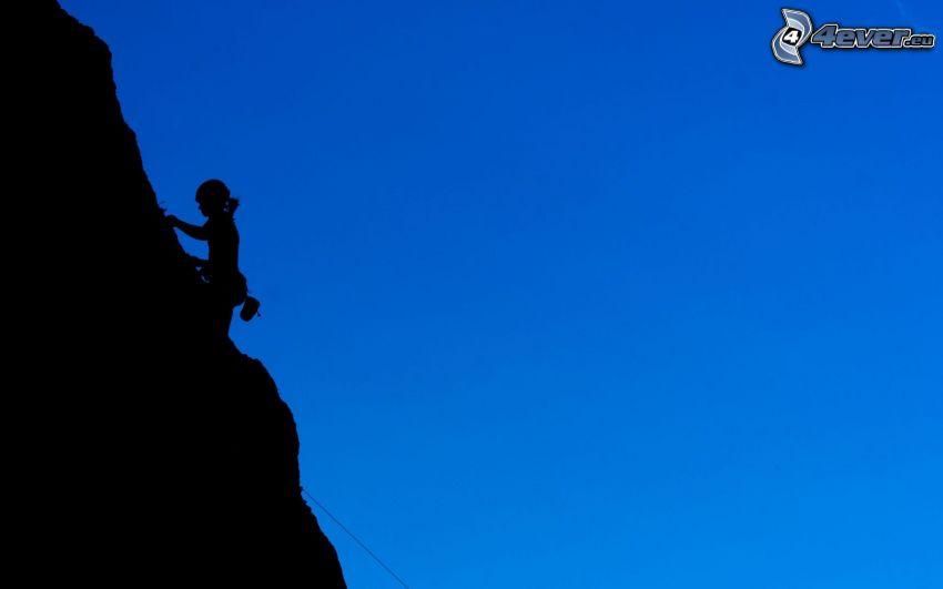 hegymászó, szikla, sziluettek