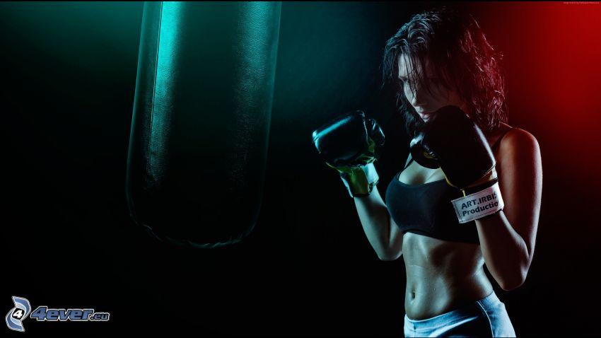 sportoló nő, box