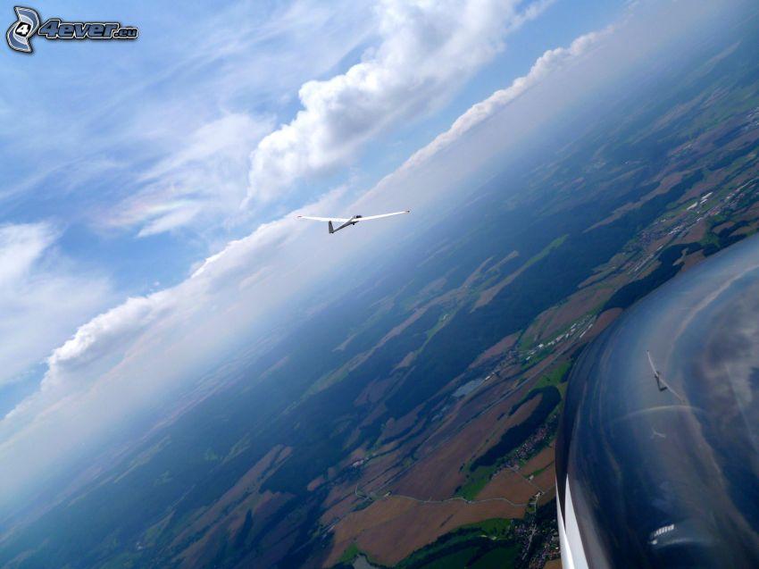 vitorlázó repülőgép, erdők és rétek, felhők