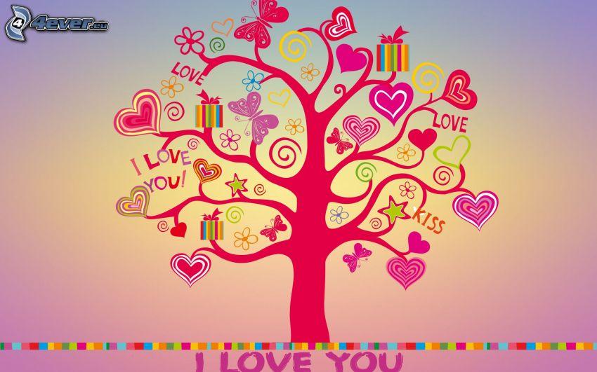 fa, szivecskék, I love you, ajándékok, pillangók, virágok, kiss, love