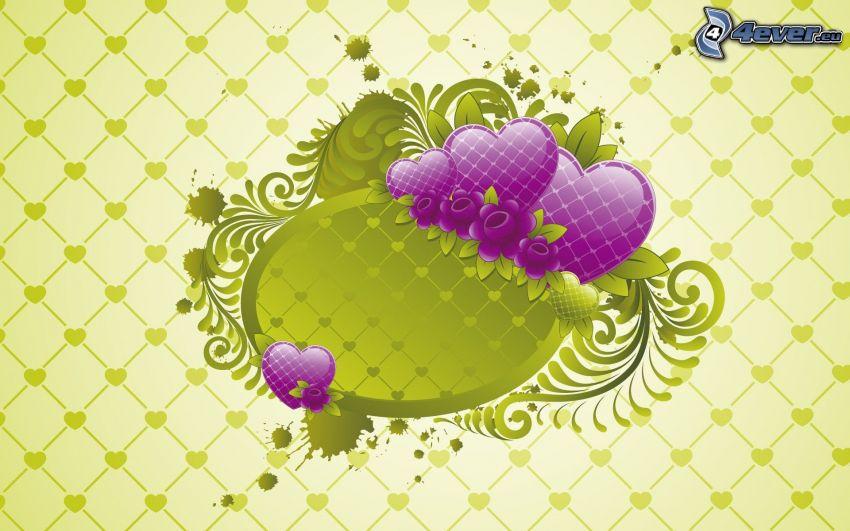 lila szívek