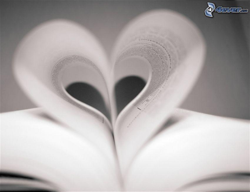 papír szív, könyv