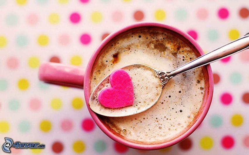 szivecske, kávé, kanál