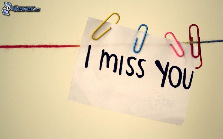 I miss you, zsinór, gémkapcsok