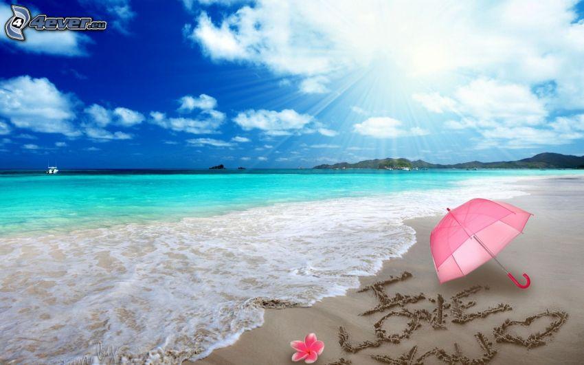 tenger, homokos tengerpart, I love you, esernyő, rózsaszín virág