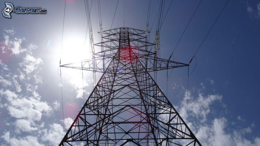 elektromos vezetékek, nap