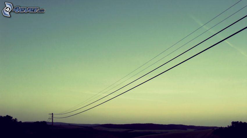 elektromos vezetékek, rétek