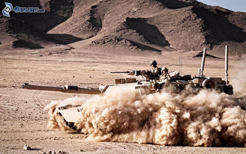 M1 Abrams, tank, katonák, sivatag, por