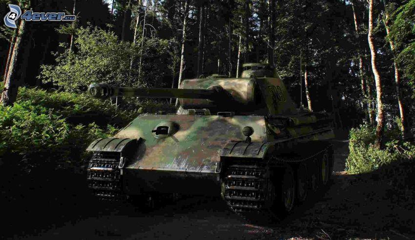 panther, tank, erdő