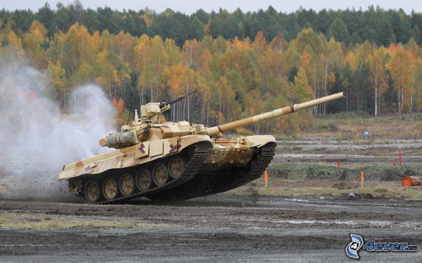 T-90, tank, őszi erdő