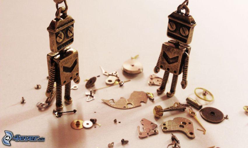 robotok, alkatrészek, medálok