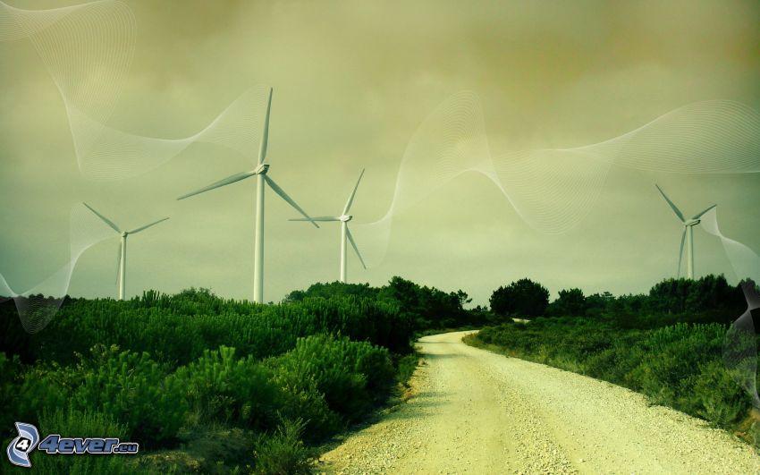 szélerőművek, út, bokrok