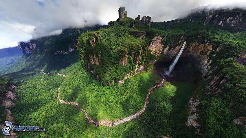 Angel-vízesés, erdő, kliff, folyó, Venezuela