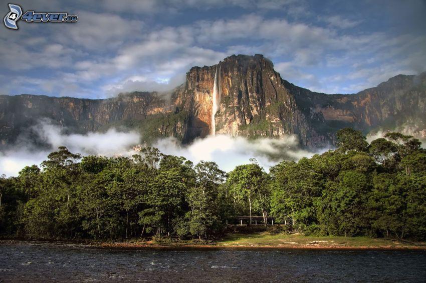 Angel-vízesés, sziklák, erdő, folyó, Venezuela