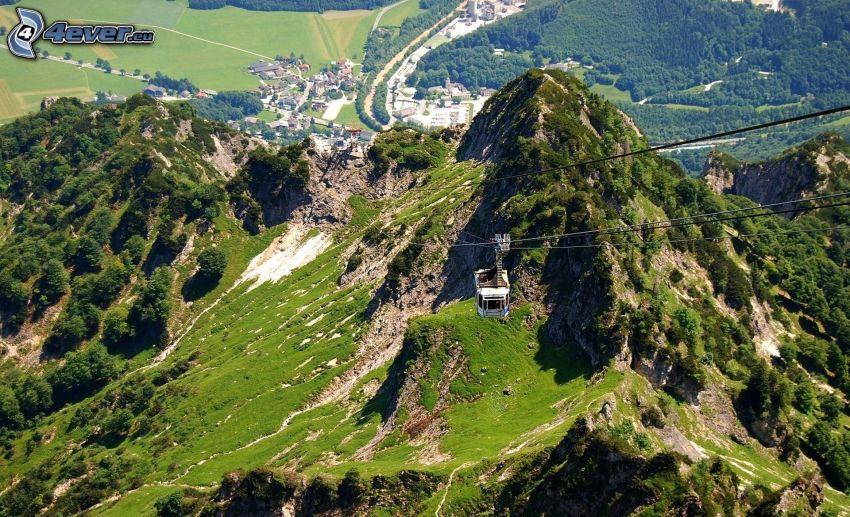 kötélpálya, hegyek, kilátás a tájra
