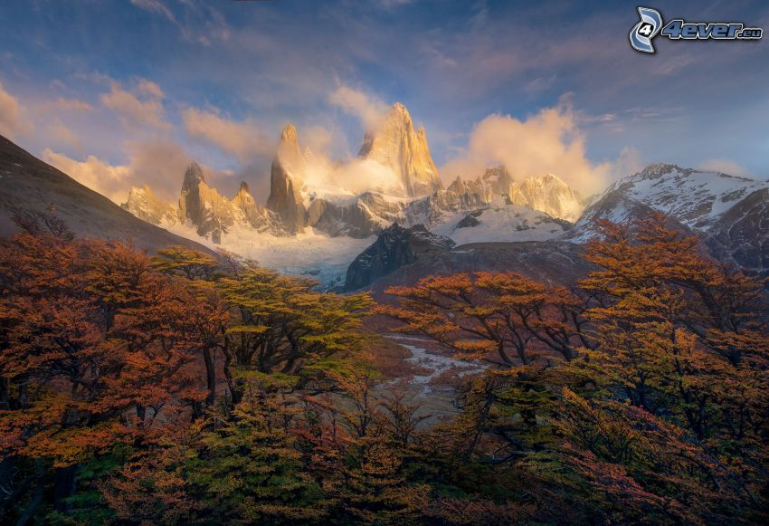 Mount Fitz Roy, hó, sziklás hegységek, őszi fák