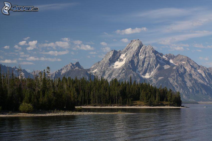 Mount Moran, Wyoming, tó, tűlevelű erdő, sziklás hegységek