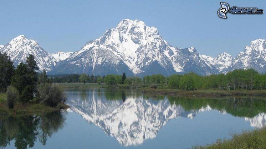 Mount Moran, Wyoming, tó, visszatükröződés, erdő, sziklás hegység