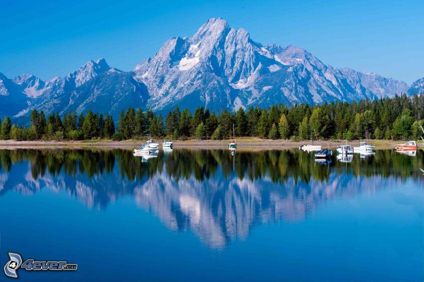 Mount Moran, Wyoming, tó, visszatükröződés, tűlevelű erdő, sziklás hegység