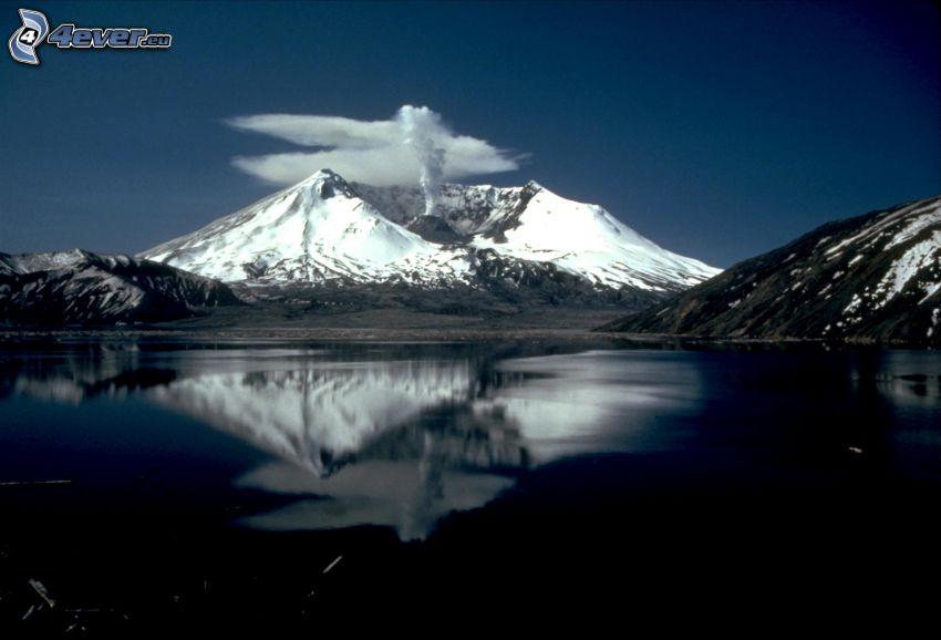 Saint Helens, vulkán, tó, visszatükröződés