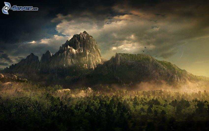 sziklás hegység, fák, felhők