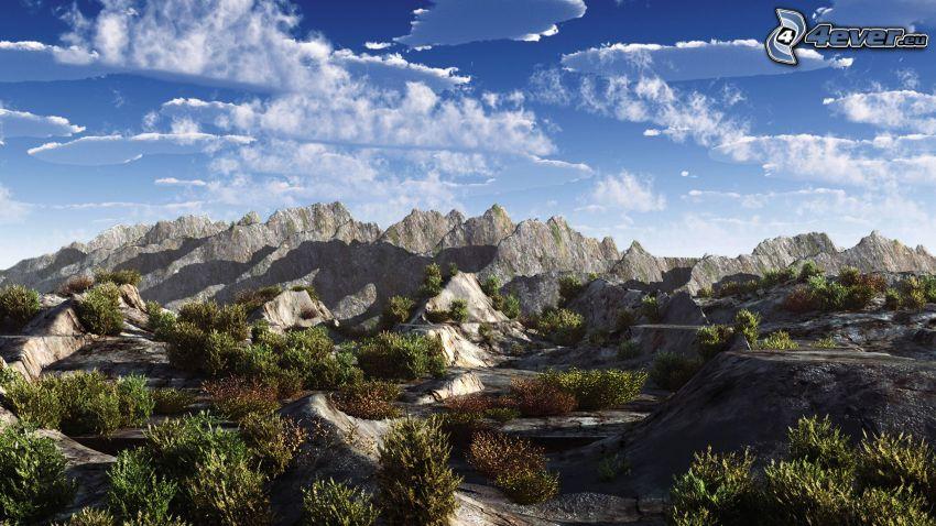sziklás hegységek, felhők