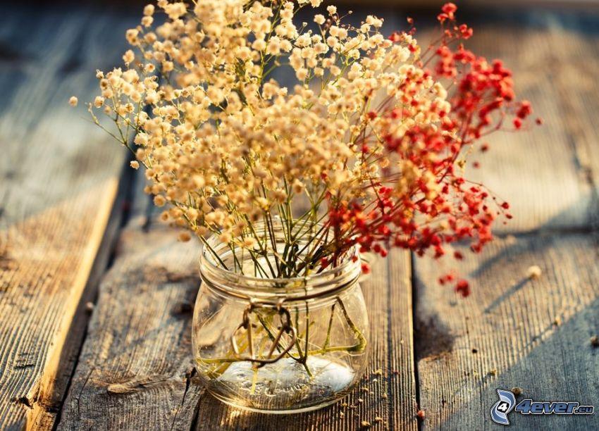 száraz virágok, pohár