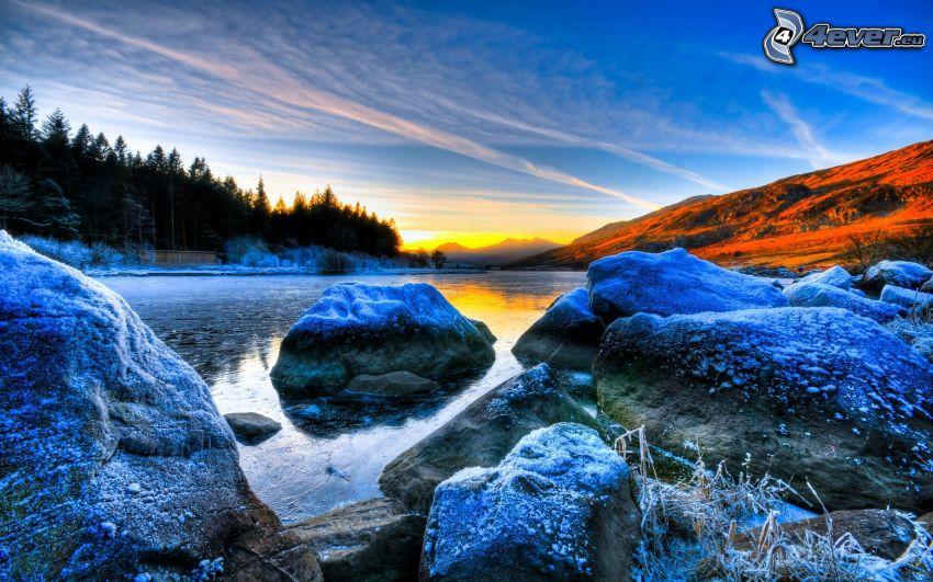 szikladarabok, tó, jegesedés, napnyugta, HDR