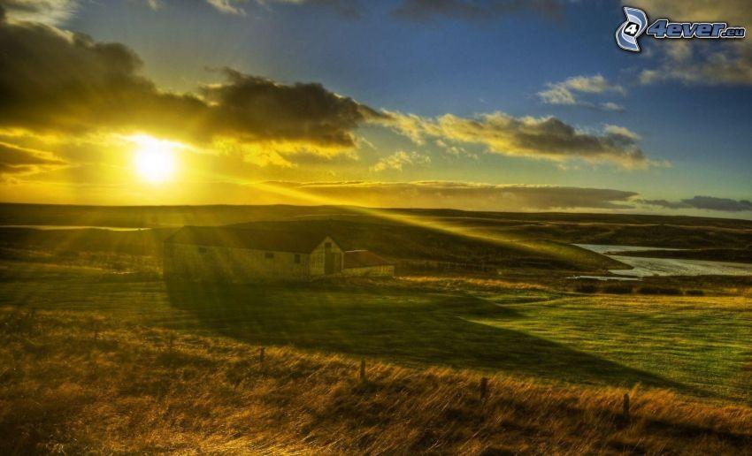 ház, nap, felhők, fű