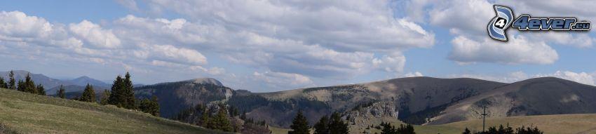 hegyvonulat, felhők, panoráma
