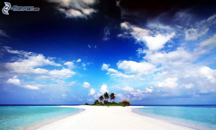 félsziget, azúrkék tenger, pálmafák, felhők