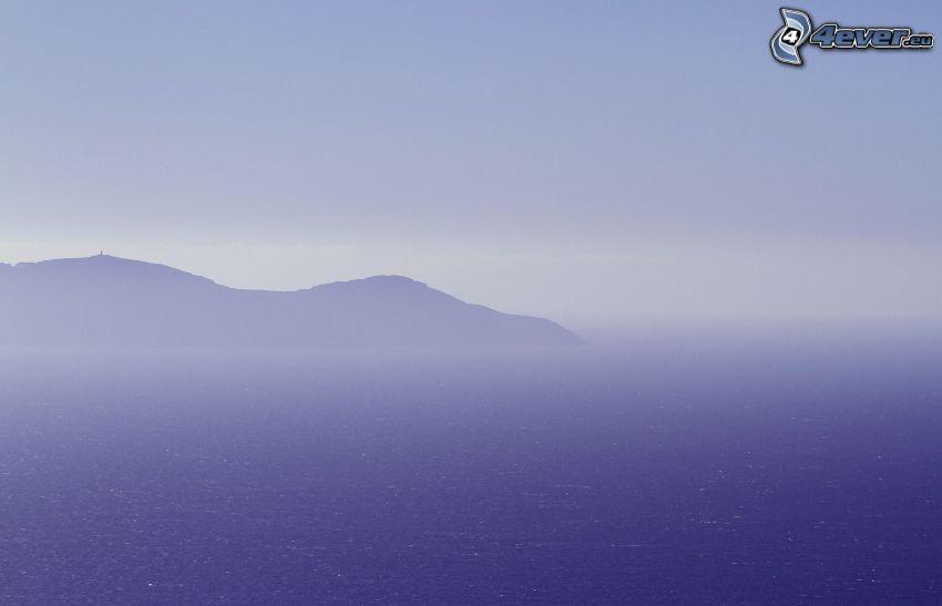 félsziget, tenger, köd