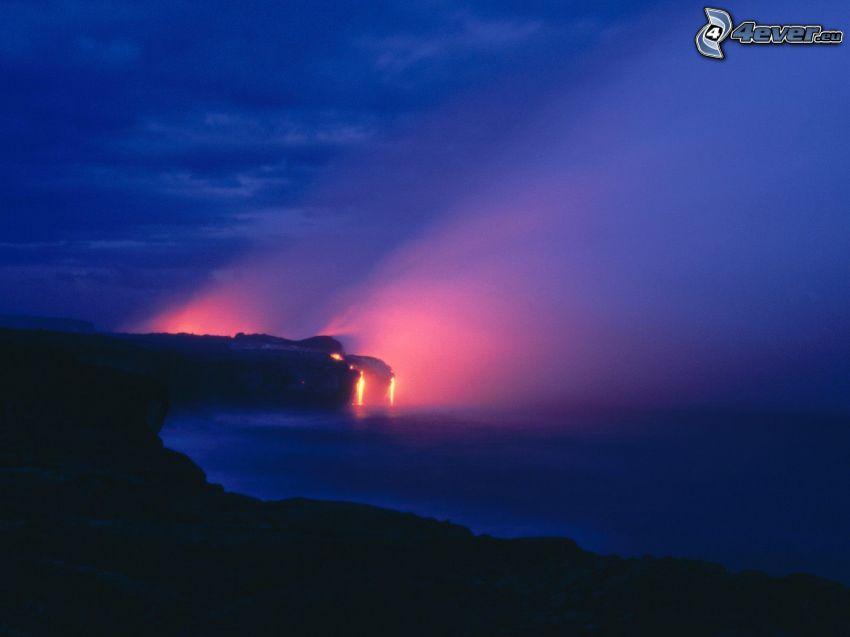 Kīlauea, Hawaii, láva, vulkán, óceán