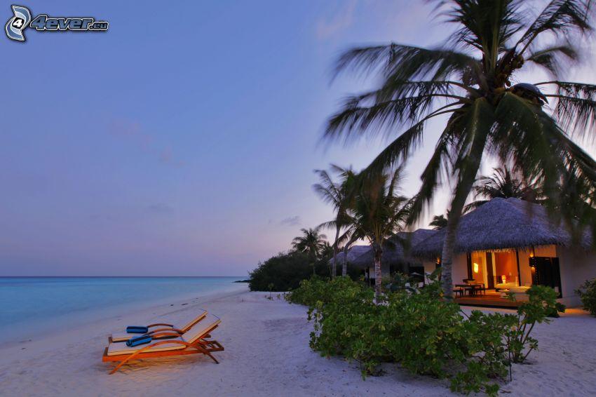 Maldív-szigetek, strand napnyugta után, homokos tengerpart, nyugágyak, házikó, pálmafák
