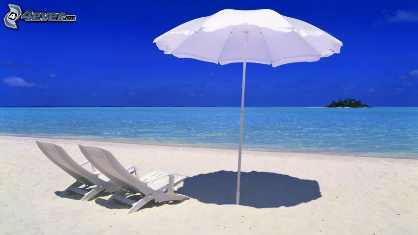 nyílt tenger, strand, nyugágyak, napernyő