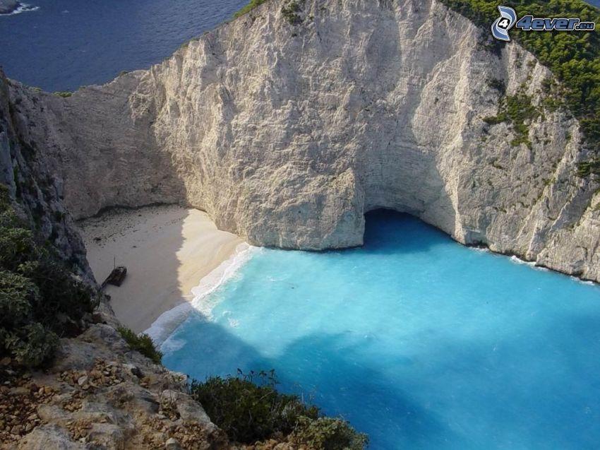 öböl Zákinthosz szigetén, Görögország, azúrkék tenger