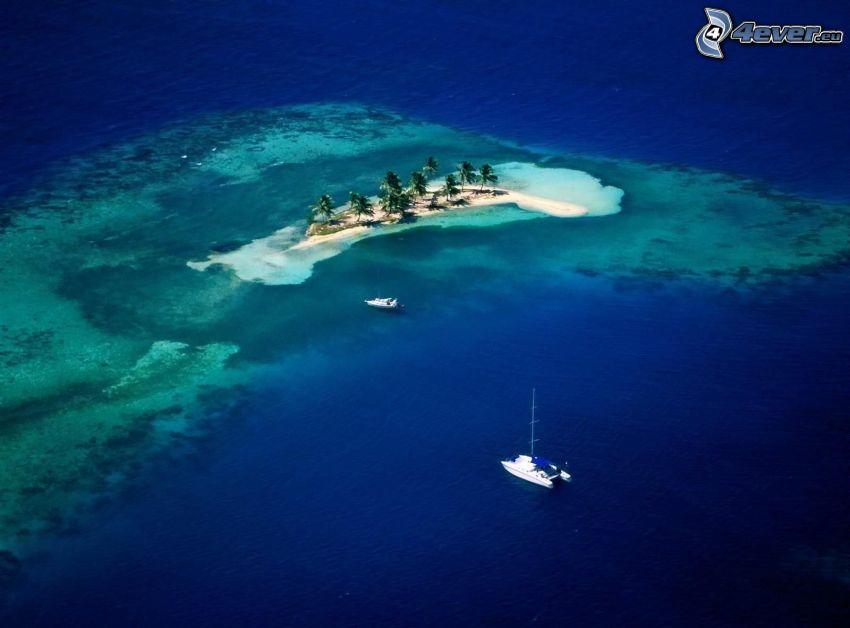 sziget, pálmafák, hajó, tenger