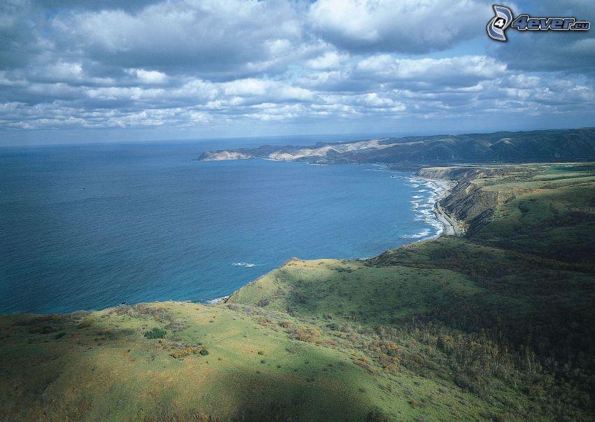 sziklás tengerpart, tenger, óceán