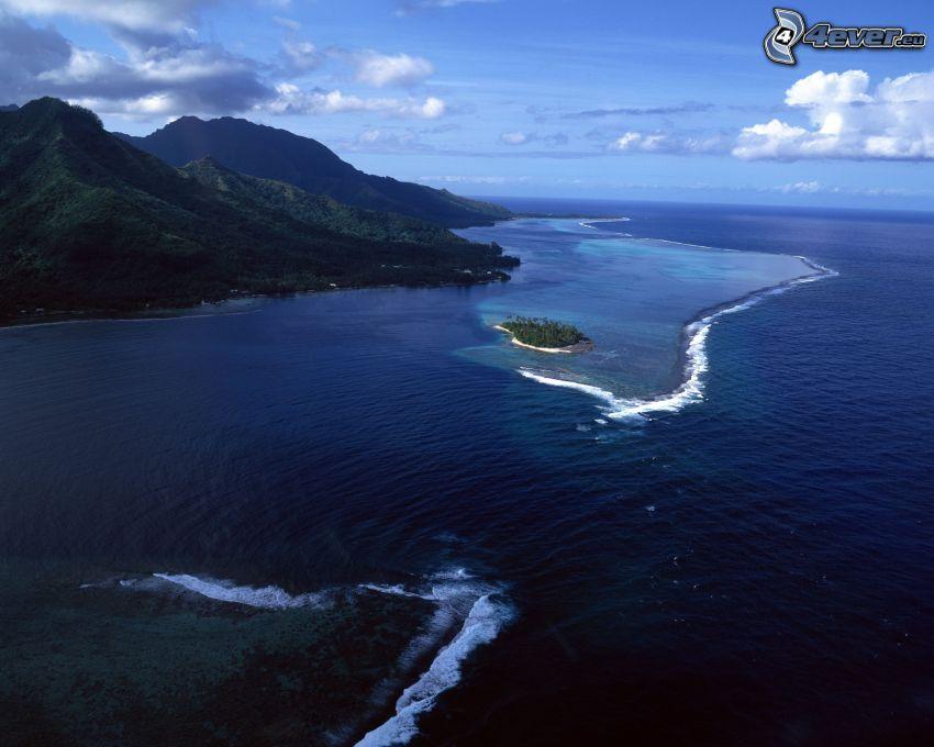 Tahiti, tengerpart, sziget, óceán