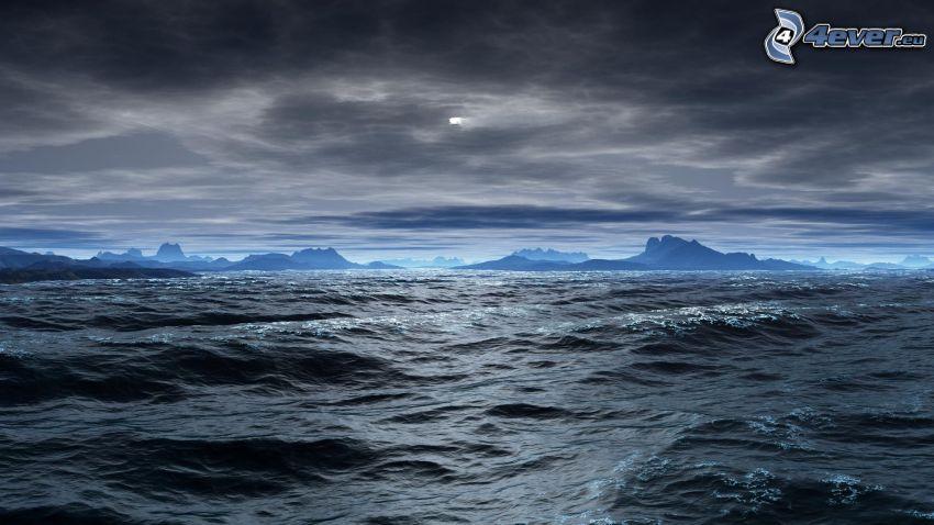 tenger, hegyvonulat, felhők