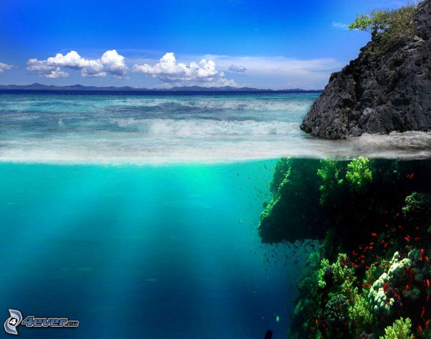 tenger, sziklák, ég